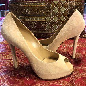 """Beige Suede Roger Vivier 5"""" heels - Size 37 1/2"""